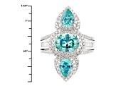 Blue And White Cubic Zirconia Silver Ring 6.84ctw