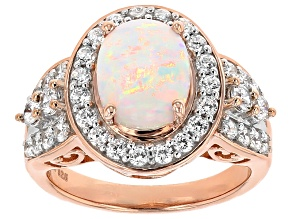 Synthetic Opal And White Cubic Zirconia 18kr Rose Gold Over Silver Ring 3.67ctw