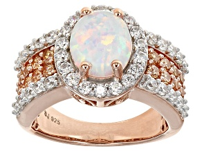 Lab Created Opal And Brown And White Cubic Zirconia 18k Rose Gold Over Silver Ring 2.45ctw