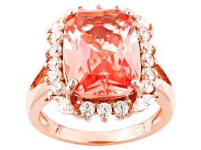 Morganite Simulant And White Cubic Zirconia 18k Rg Over Silver Ring 4.64ctw