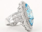Blue And White Cubic Zirconia Rhodium Over Silver Ring 9.87ctw