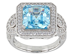 Blue And White Cubic Zirconia Rhodium Over Sterling Silver Ring 8.63ctw