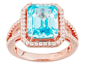 Blue And White Cubic Zirconia 18k Rose Gold Over Sterling Silver Ring 7.95ctw