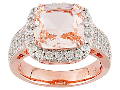 Morganite Simulant And White Cubic Zirconia 18k Rose Gold Over Sterling Ring 4.09ctw