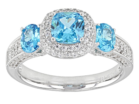 Blue And White Cubic Zirconia Rhodium Over Sterling Ring 2.99ctw