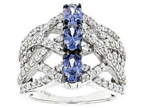 Blue And White Cubic Zirconia Silver Ring 4.82ctw