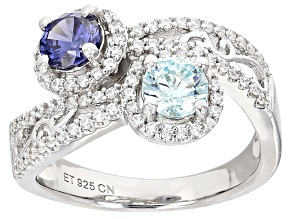 Blue And White Cubic Zirconia Rhodium Over Sterling Silver Ring 1.42ctw