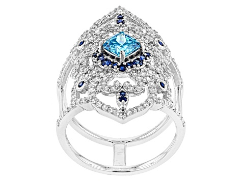 Blue/White Cubic Zirconia And Blue Synthetic Sapphire Rhodium Over Sterling Silver Ring 2.94ctw