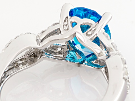 Blue And White Cubic Zirconia Silver Ring 5.12ctw