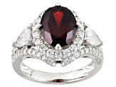 Red And White Cubic Zirconia Silver Ring 6.83ctw