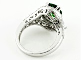 Green And White Cubic Zirconia Silver Ring 6.19ctw