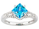 Blue Cubic Zirconia Silver Ring 3.23ctw