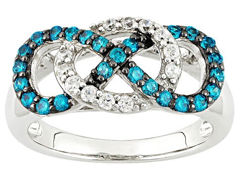 Blue And White Cubic Zirconia Silver Ring .85ctw
