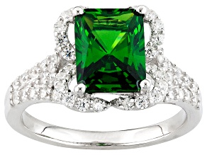 Green Cubic Zirconia Silver Ring 5.21ctw