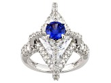 Blue And White Cubic Zirconia Silver Ring 11.92ctw