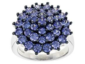 Blue Cubic Zirconia Silver Ring 5.82ctw