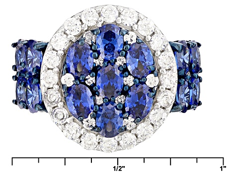 Blue And White Cubic Zirconia Silver Ring 5.63ctw