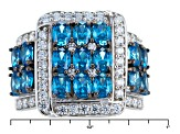 Blue And White Cubic Zirconia Silver Ring 5.90ctw