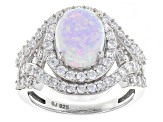 Synethetic Opal And White Cubic Zirconia Silver Ring 3.55ctw