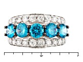 Blue And White Cubic Zirconia Silver Ring 5.69ctw