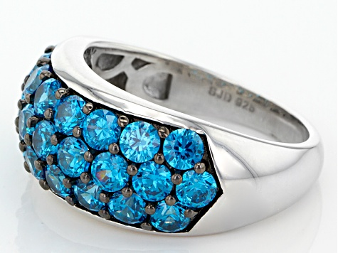 Blue Cubic Zirconia Rhodium Over Sterling Silver Ring 4.90ctw