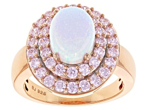 Synthetic Opal And Pink Cubic Zirconia 18k Rose Gold Over Silver Ring 4.17ctw