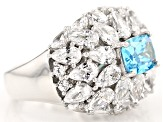 Blue And White Cubic Zirconia Rhodium Over Sterling Silver Ring 10.06ctw