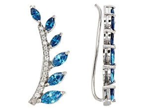 Blue And White Cubic Zirconia Silver Climber Earrings 2.49ctw