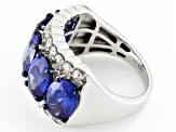 Blue And White Cubic Zirconia Silver Ring 11.31ctw