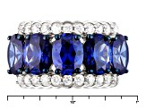 Blue And White Cubic Zirconia Rhodium Over Sterling Silver Ring 11.31ctw