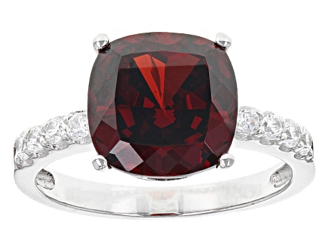 Red And White Cubic Zirconia Rhodium Over Sterling Silver Ring 10.04ctw