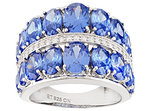 Blue And White Cubic Zirconia Rhodium Over Sterling Silver Ring 5.50ctw
