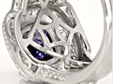 Blue And White Cubic Zirconia Rhodium Over Sterling Silver Ring 2.00ctw