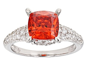 Orange And White Cubic Zirconia Silver Ring 4.74ctw