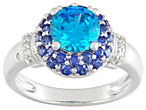 Blue And White Cubic Zirconia Silver Ring 3.12ctw