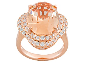 Morganite Simulant And White Cubic Zirconia 18k Rose Gold Over Sterling Silver Ring 7.96ctw