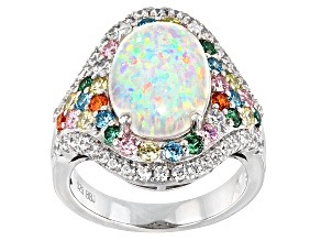 Synthetic Opal And Multicolor Cubic Zirconia Rhodium Over Sterling Silver Ring 5.36ctw