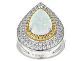 Synthetic Opal, White And Yellow Cubic Zirconia Rhodium Over Sterling Ring 3.91ctw