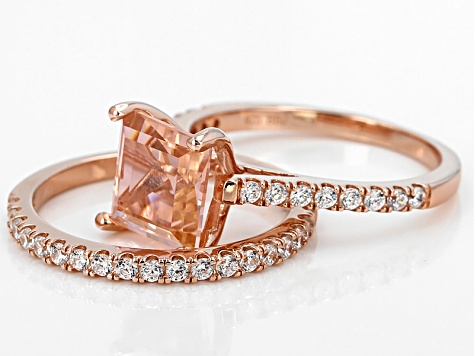 Morganite Simulant & White Cubic Zirconia 18k Rose Gold Over Silver Ring With Band 4.01ctw