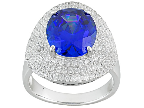 Lab Created Blue Spinel And White Cubic Zirconia Rhodium Over Sterling Silver Ring 9.98ctw