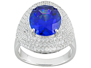 Blue Created Spinel And White Cubic Zirconia Rhodium Over Sterling Silver Ring 9.98ctw