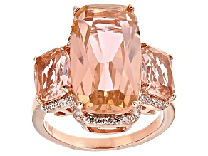 Morganite Simulant And White Cubic Zirconia 18k Rose Gold Over Sterling Silver Ring 13.69ctw
