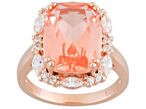 Morganite Simulant And White Cubic Zirconia 18k Rose Gold Over Sterling Ring 9.07ctw