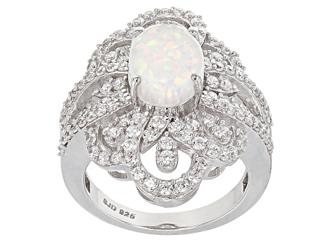 Lab Created Opal And White Cubic Zirconia Sterling Silver Ring 4.38ctw