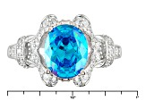 Blue And White Cubic Zirconia Rhodium Over Sterling Silver Ring 5.41ctw