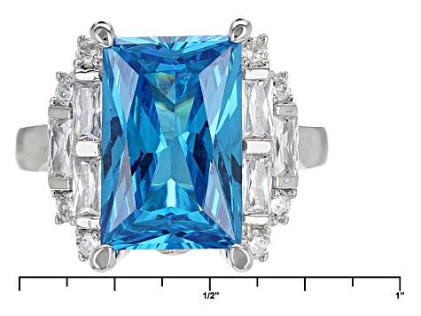 Blue And White Cubic Zirconia Rhodium Over Sterling Silver Ring 9.65ctw