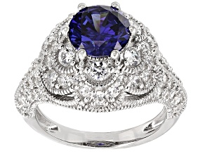 Blue And White Cubic Zirconia Rhodium Over Sterling Silver Ring 5.64ctw