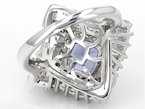 Blue And White Cubic Zirconia Rhodium Over Sterling Ring 3.74ctw