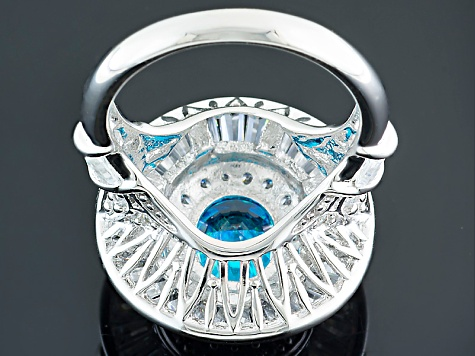 Blue And White Cubic Zirconia Sterling Silver Ring 8.82ctw