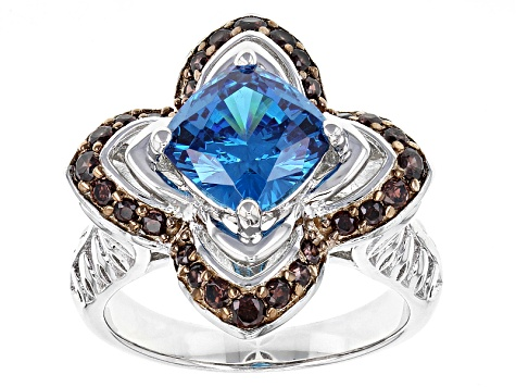 Blue And Brown Cubic Zirconia Sterling Silver Ring 4.53ctw